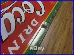 1930's Early Vintage Coca-Cola Coke Porcelain Metal Store Soda Fountain Sign