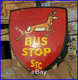 1930's Old Vintage Rare DOUBLE SIDED STC Bus Stop Ad Porcelain Enamel Sign Board