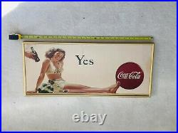 1946, Original, Vintage, Framed, Coca Cola Cardboard YES Sign, Very Scarce