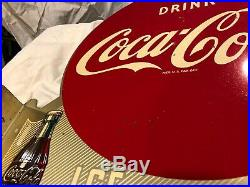 1949 COCA COLA Double Sided Flange Metal Gas Station Vintage Sign Ice Cold