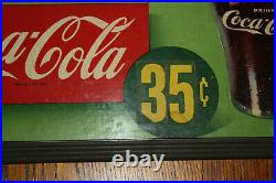 1950's VINTAGE COCA COLA CARDBOARD HANGING SIGN Cornell College Cole Bin