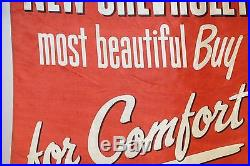 1950s Original Chevrolet Dealership For Comfort Advertising Vintage Banner Sign