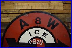 5' RARE Vintage 1950's A&W Root Beer Restaurant Soda Pop Gas Oil Metal Sign