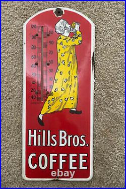 Antique Hills Bros Coffee Thermometer Sign 1915 Porcelain Vintage