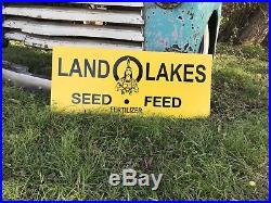 Antique Vintage Old Style Land O Lakes Farm Seed Feed Sign