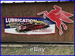 Antique Vintage Old Style Mobil Oil Gas Sign 36x81