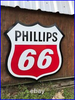 Antique Vintage Old Style Phillips 66 Shield Gas Oil Sign 40