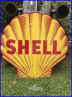 Antique Vintage Old Style Shell Gasoline And Oil Sign 40