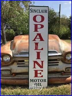 Antique Vintage Old Style Sinclair Opaline Motor Oil Sign 60