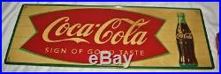 Antique Vintage USA Coca Cola Soda Metal Fish Tail Art Advertising Store Sign Us