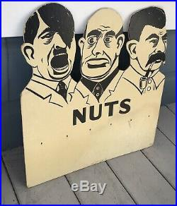 Antique Vintage WWII 1940 Hitler Mussolini Stalin Nuts Store Peanut Sign