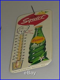 Antqe/Vtg Adv Thermometer Sign, ENJOY Squirt Soda, Embossed Rare, USA, 1963, Org, N-Mt