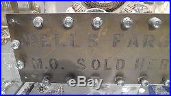 Authentic Vintage Brass withGlass Reflectors Wells Fargo Exp Money Order Sign RARE