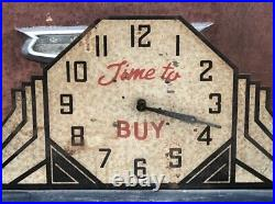 COOL ORIGINAL Vintage NEON PRODUCTS Clock TIME TO BUY Art Deco To Restore OLD