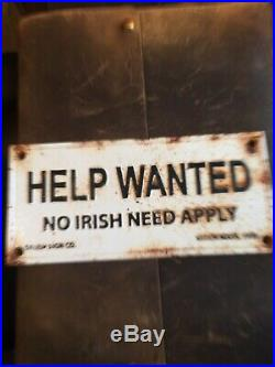 Cast Iron Help Wanted No Irish Need Apply Salem, Ma Vintage Sign Plaque