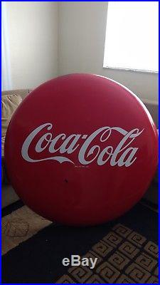 Coca Cola Button Pop Sign Vintage 1950's 48 Metal/Porcelain Original
