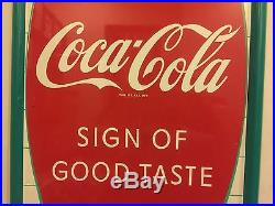 Coca Cola HUGE VINTAGE TIN METAL SIGN GORGEOUS UNHUNG beautiful 52TALL LAST ONE