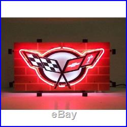 Corvette Neon Sign GM Vintage Style C5 body style lamp light racing flags