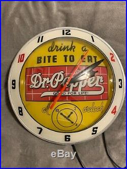 Dr Pepper Double Bubble Light Up Wall Clock Sign Vintage Style Fantasy Piece