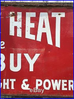Early Vintage WILLY WIRED HAND Electric Heat CO-OP Sign HUGE! 10' X 4' Power Co