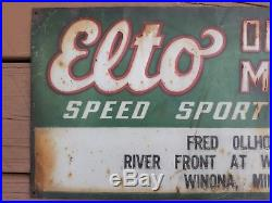 Elto Outboard Motor Metal Tin Sign Fishing Lure Rod Reel Johnson Heddon Gas Oil