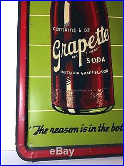Embossed Grapette Sign 39x13-1/4 Vintage Rare Estate Find In Early 90's