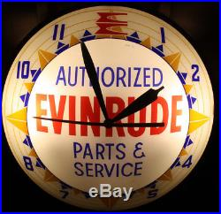 Evinrude Outboard Motor Double Bubble Lighted Dealer Wall Clock Vintage Sign