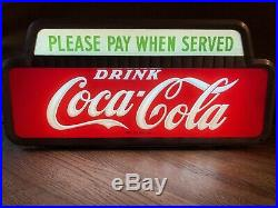 Excellent Vintage 1950 Coca Cola Please Pay When Served Lighted Cashier Sign