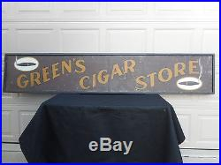 Greens Cigar Store Tin Sign in Original Wood Frame Antique Vintage Tobacco Adv