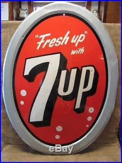 HUGE Vintage 1963 Stout 7up Dome Shaped Sign 40 x 30 Antique 7 UP RARE! 9349