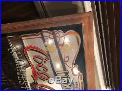 LARGE VINTAGE COCA COLA MIRROR IN WOOD FRAME CLASSIC PUB BAR SIGN (39x27)