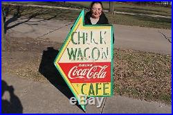 Large Vintage 1950's Coca Cola Chuck Wagon Cafe Restaurant Soda 54 Metal Sign