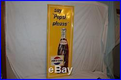 Large Vintage 1965 Pepsi Cola Soda Pop Bottle Gas Oil 47 Embossed Metal Sign