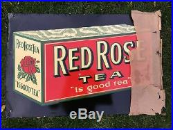 Large Vintage Advertising Sign Red Rose Tea 29 x 19 Made in Canada