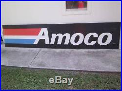 Large Vintage Amoco Oil Gas Station Sign Nearly 12 Feet Wide