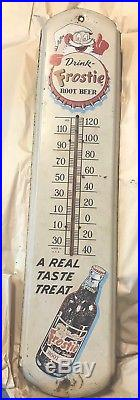 Large Vintage Frostie Root Beer Soda Pop 36 Metal Thermometer Advertising Sign