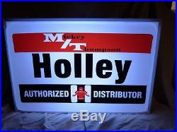 Large Vintage Mickey Thompson Holley Carbs 24 Lighted speed shop garage sign