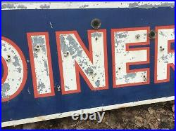 Large Vtg 24x72 Oval Double Sided Diner Sign Old Resturant Retro 324-20E