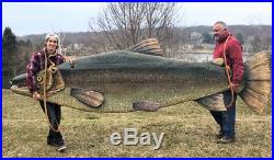 Massive Carved Wood Fish Fly Fishing Lodge Cabin Trout Salmon Sculpture Folk Art