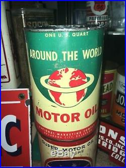 Nice Around The World Graphic Motor Oil Can Qt Gas Sign Old Vintage Original