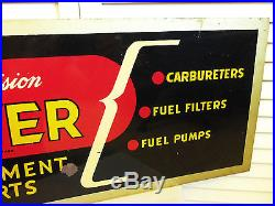 Old 1940s Sign Vintage Carter Carburetor Gas Station Fuel Tin Metal Original