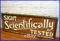 Optician glass wooden advertising sign vintage retro antique industrial optician