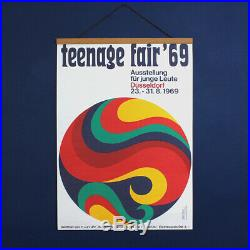Original 1960s Vintage Abstract Psychedelic Poster'Teenage Fair 69' Signed