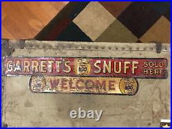 Original Garretts Snuff Sign Vintage Metal Antique Sign super rare Tobacco