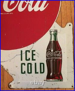 Original Vintage Double Sided Metal Coke Coca-Cola Sign Ice Cold