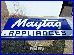 Original Vintage Maytag Porcelain Neon Sign Double Sided 72 x 27 Nice