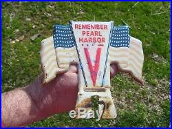 Original vintage 1940s WW2 Remember Pearl Harbor license plate topper 1943 1942