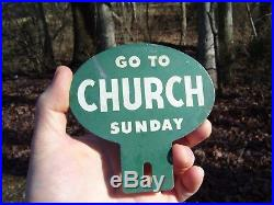 Original vintage 40s GO TO CHURCH SUNDAY license plate topper gm auto part bomba