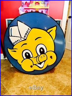 Original vintage porcelain sign piggly wiggly rare grocery gas oil collectible