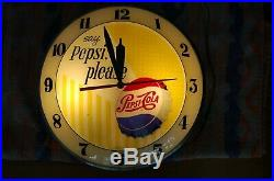 PEPSI COLA DOUBLE BUBBLE Lighted 15 Clock sign Vintage